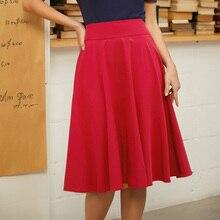 Belle Poque 2019  Atumn Pleated Women High Waist Skirt Butterfly Solid Causal Midi Skirts Black Vintage Ladies Skirt
