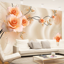 Custom Size 3D Silk Cloth Flowers Photo Wallpapers Floral Rose