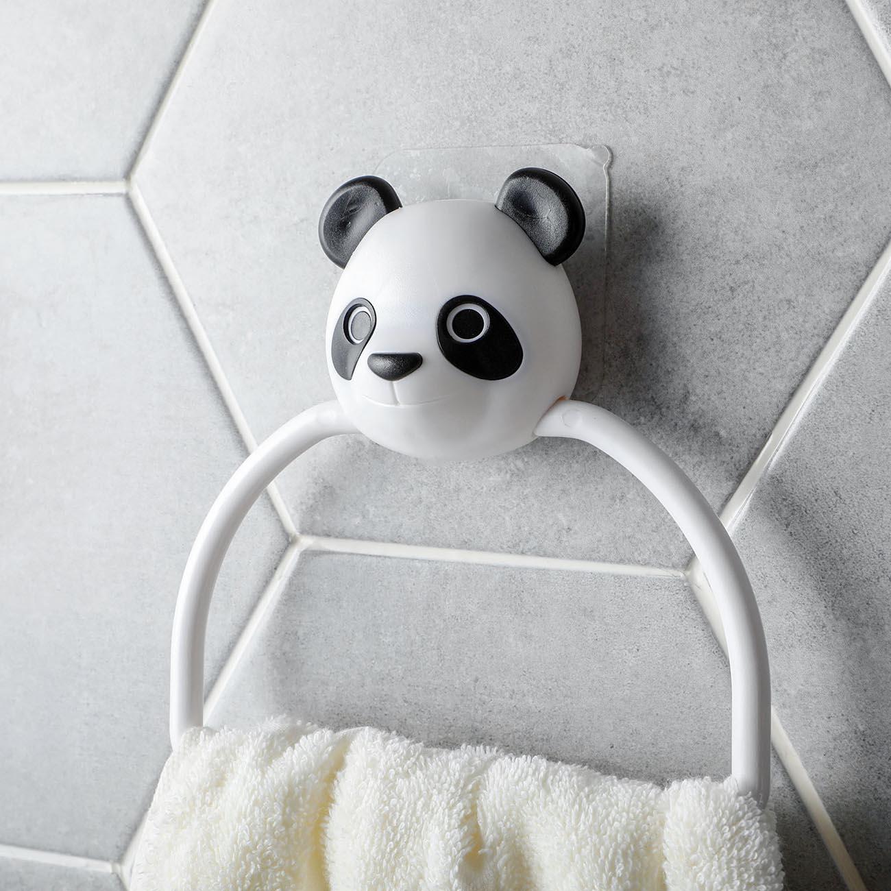 1pc Cartoon Towel Holder Rack Bathroom Organizer Hanging Towel Bar Bathroom Storage Rack Self Hanger Plastic Towel Ring