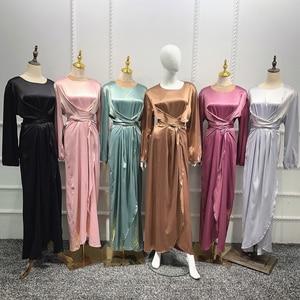 Abaya Dubai Muslim Long Dress Satin Maxi Robe Bandage Kaftan Arab Jilbab Ramadan Islamic Clothing For Women Bangladesh Fashion