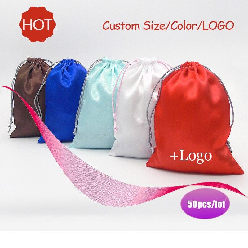 Satin Drawstring Bag Jade/Ribbon Jewelry/Hair/Gift/Travel/Watch/Shoes/Diamond/Ring/Bead Pouch Silk Cloth Bags Custom Logo 50p