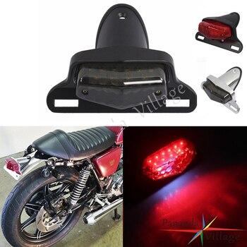 Motorcycle Silver LED Bullet Brake Stop Taillight For Harley Bobber Old School