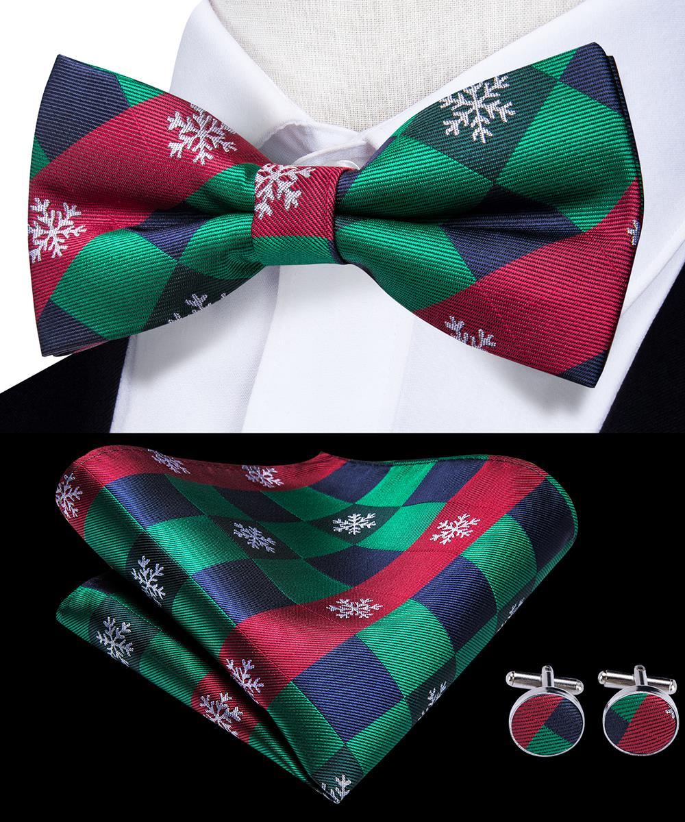 Hi-Tie Fashion Christmas Ties For Men Red Green Christmas Tree Santa Claus Bow Tie Pocket Square Cufflinks Set Silk Men's Bowtie