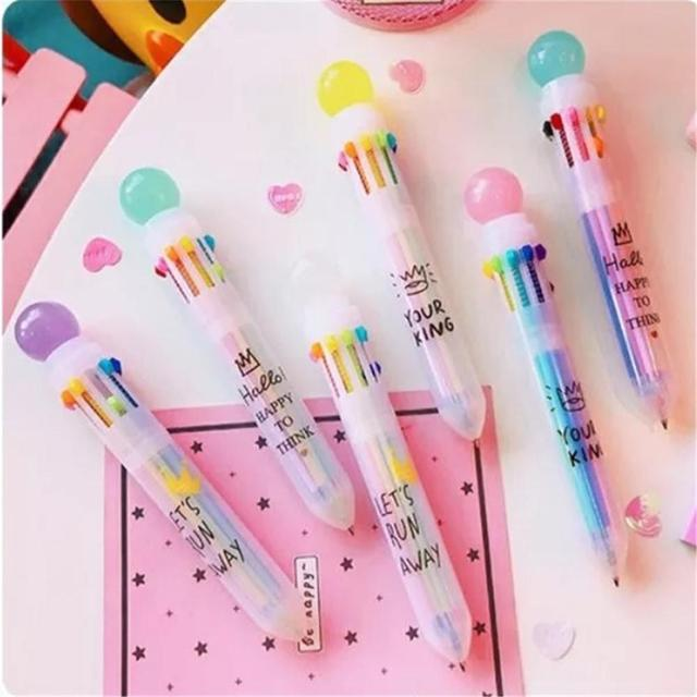 Multi-color 10 In 1 Candy Color Ball Ballpoint Pen Cute Marker Pen Fresh Candy Color Ballpoint Pen New 2010 3