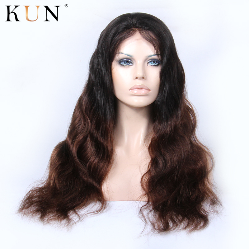 Ombre T1B #4 Lace Front Human Hair Wigs Body Wave Wig 150% Density 13x4 Lace Front Wig Brazilian Remy Pre Plucked For Women