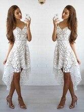 2020 Asymmetrical Homecoming Dress A Line/Princess Sleeveless Spaghetti Straps Lace Short/Mini Dresses for Party
