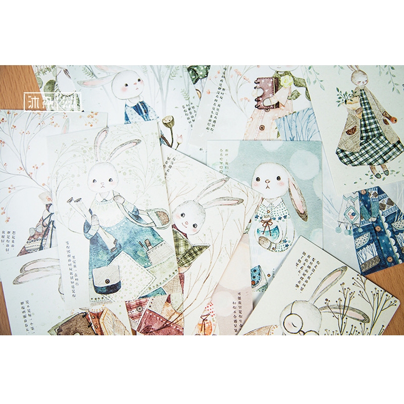 4packs/lot Cute Rabbit Forest Cartoon Postcard Greeting Cards Christmas Card Birthday Business Card Gifts
