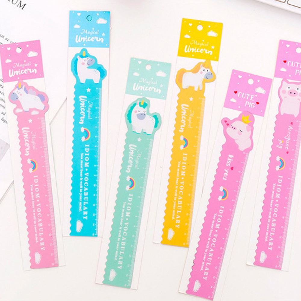 1 Pcs Best Selling Bendable Measuring Ruler 15 Cm Kawaii Cartoon Animal Unicorn Pig Plastic Ruler Promotional Gift Stationery
