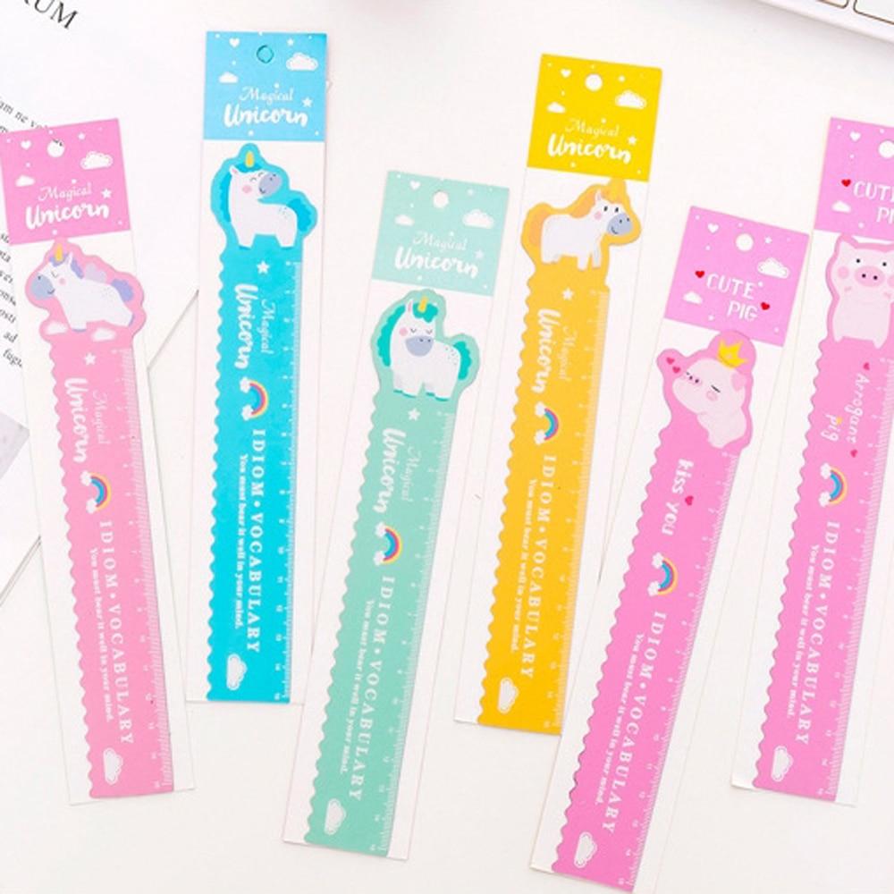 1 Pcs Best Selling Bendable Measuring Ruler 15 Cm Kawaii Cartoon Animal Unicorn Pig Plastic Ruler Promotional Gift Stationery