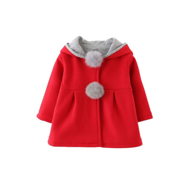 Baby Girls Coat Winter Spring Baby Girls Princess Coat Jacket Rabbit Ear Hoodie Casual Outerwear for girl Infants clothing 6