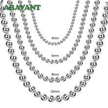 925 srebrny 4MM/6MM/8MM/10MM koralik łańcuszkowy naszyjnik dla mężczyzn kobiety moda biżuteria