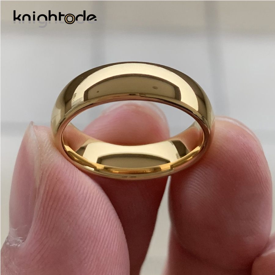 Classic Gold Color Wedding Ring Tungsten Carbide Rings Women Men Engagement Ring Gift Jewelry Dome Polished Band Free Engraving 5