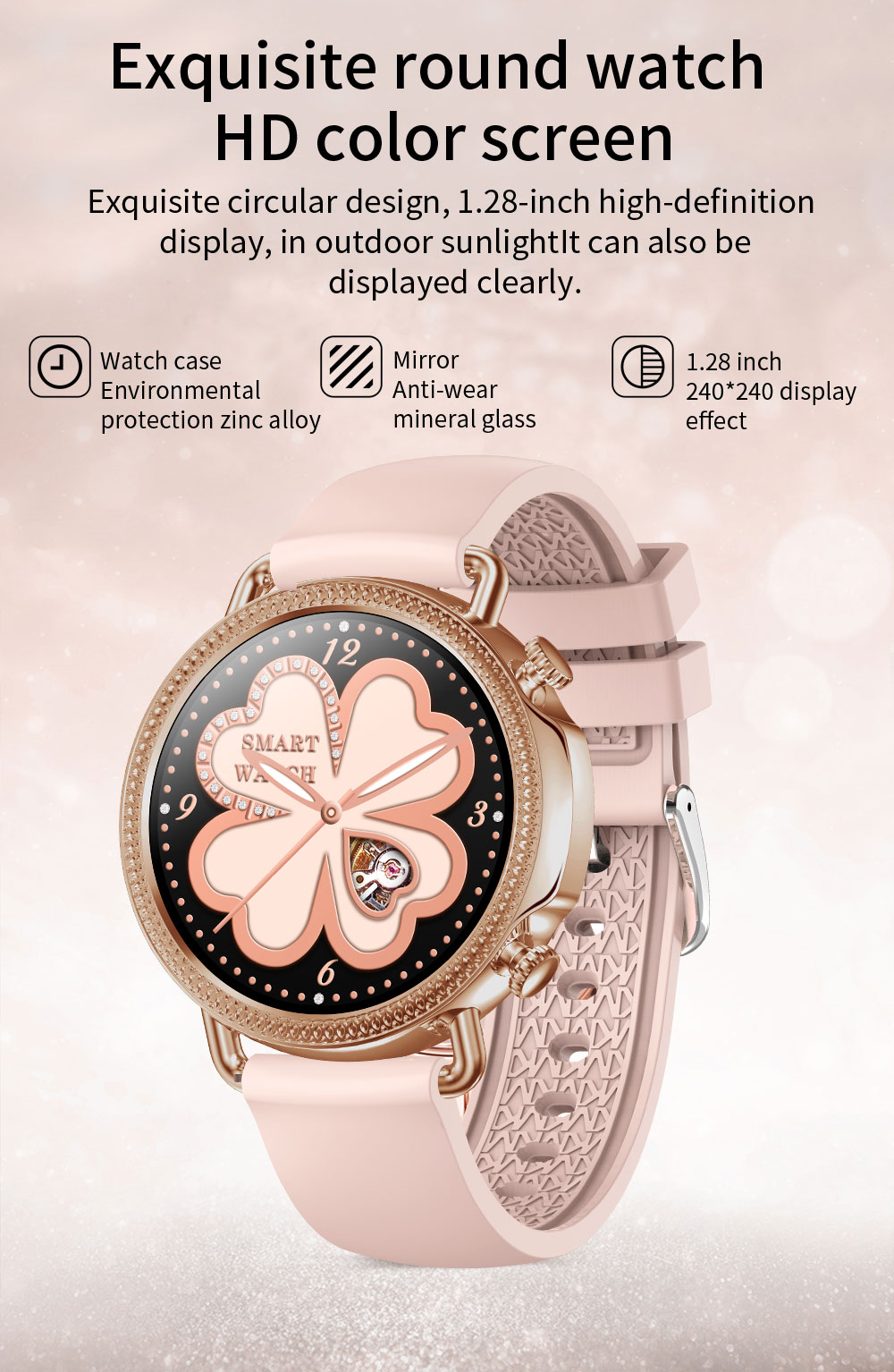 H2cdfaf96d00040d0a0fd48d9265a4390Q 2021 Women Smart Watch 1.28 inch HD Screen IP67 Waterproof Lady's Watches Body Temperature Heart Rate Monitor PK V23