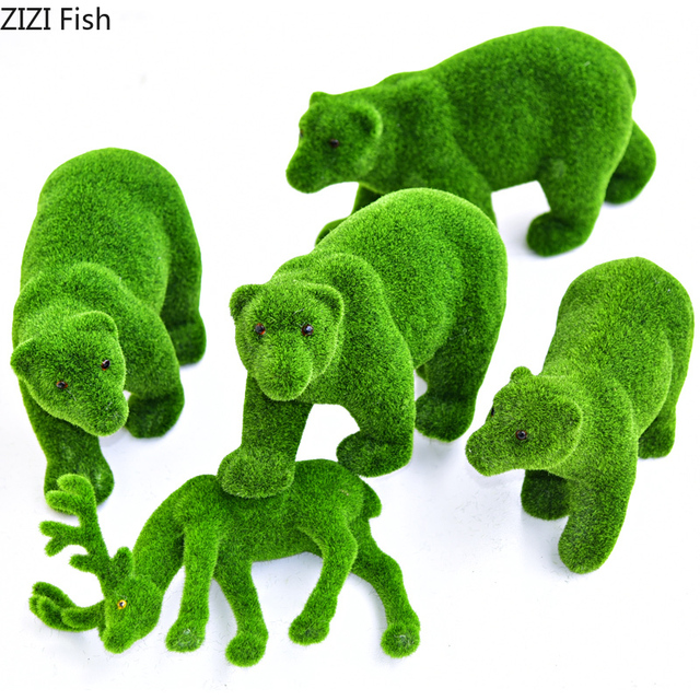 Simulation Planting Animal Moss Green Plant Window False Moss Cubs Deer Wedding Decoration Props