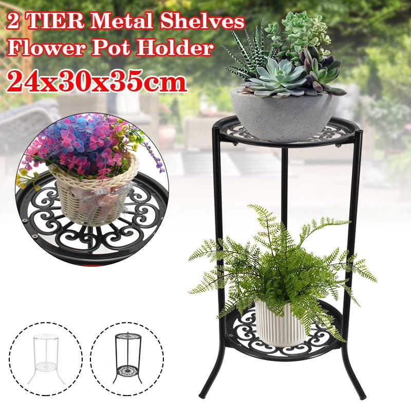 Metal Plant-Pot Stand Indoor Garden Decor Flower Planter Display Holder Shelf