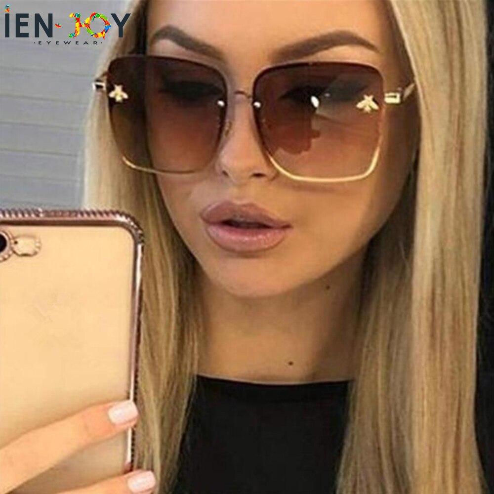 IENJOY Fashion Women Sun Glasses Cute Bee Design Mirror Female Glasses Square Feminino Zonnebril Dames Gafas De Sol Mujer