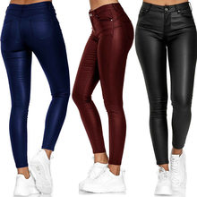 2020 nuovo prodotto tasca a vita alta Skinny tinta unita pantaloni Casual in pelle PU pantaloni piccoli piedi pantaloni donna Plus Size 2XL 3XL