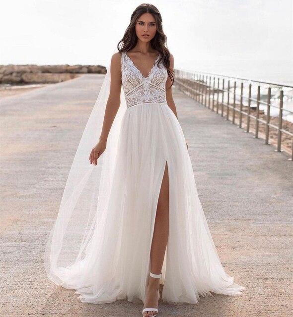 Bohemian Wedding Dress Lace 2021 Split Tank Organza Sleeveless A-Line Vintage Civil Bridal Gown Boho Charming Robe Unique Design 2