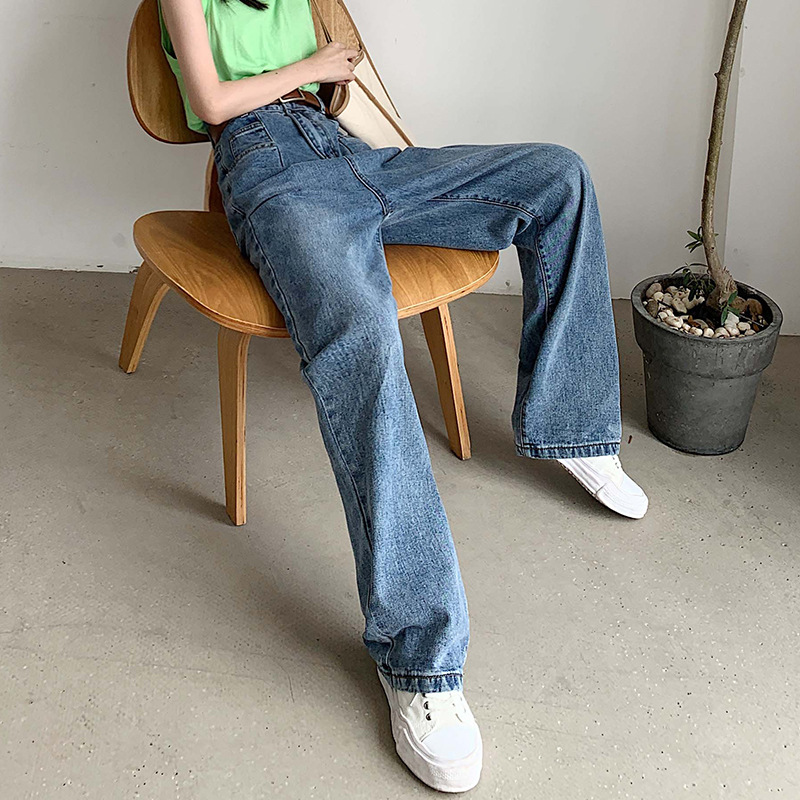 Hyuna Celebrity Style Autumn New Style Jeans Retro Hong Kong Flavor Loose Straight Loose Pants Pendant Drape Mopping Long Pants
