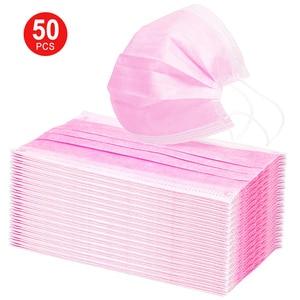 Mascarilla desechable de algodón para la boca, máscara facial para la boca, Mascarilla Anti-polvo de Color negro, blanco activado, negro, azul y rosa, 50 pzs/Set