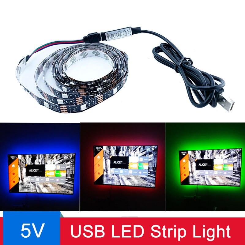 USB LED Strip Light 2835SMD DC5V Flexible LED Lamp Tape Ribbon RGB 1M 2M 3M 4M 5M TV Desktop Screen BackLight Diode Tape