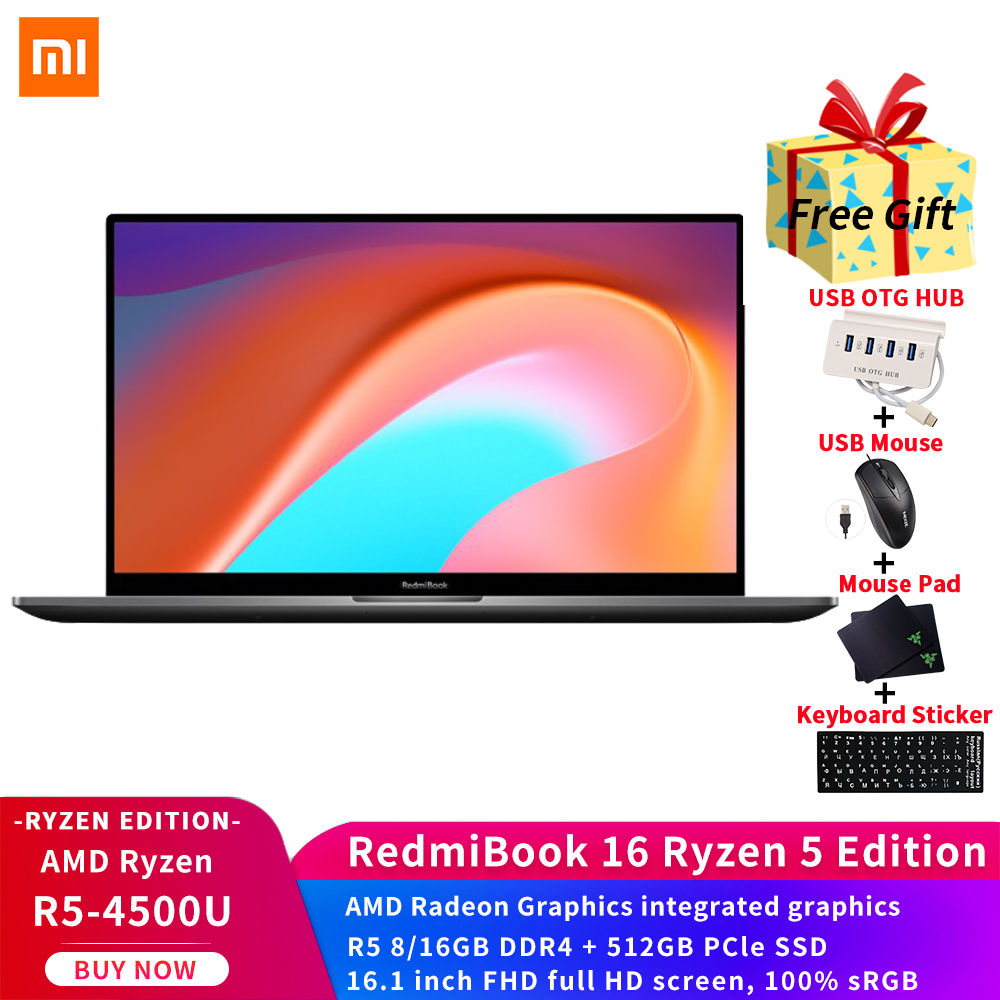 Xiaomi RedmiBook Laptop 16 1 inch AMD Ryzen5-4500U 8GB 16GB RAM 512GB SATA SSD 100percentsRGB 3 26mm Thickness Notebook