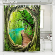3D Nature Tree Hole Shower Curtain Bathroom Waterproof Polyester Shower Curtain Leaves Printing Curtains for Bathroom Shower New