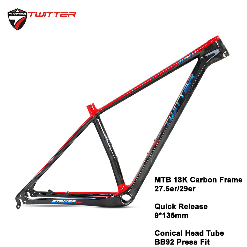 Twitter STRIKERpro MTB Carbon Frame Ultralight Mountain Bicycle Frames XC Lever Cable Internal Routing Disc Brake ESP UV Laser