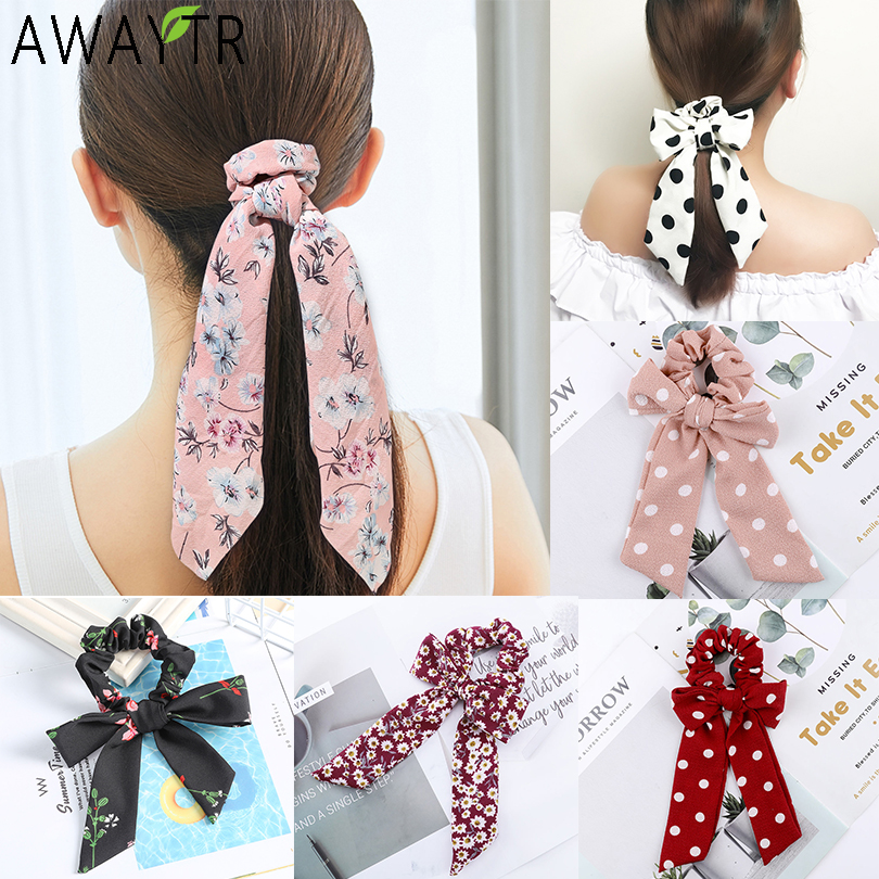 Boho Solid Streamers Elastic Scrunchies Hair Scarf Bow Hair Rubber Rope Ornament
