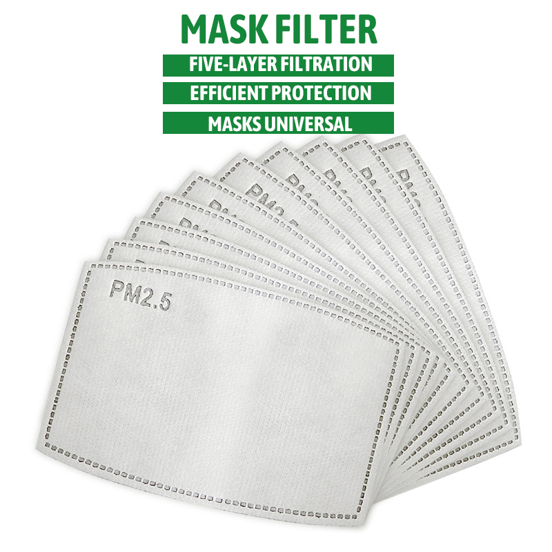 100 /10 Pcs PM 2.5 Mask Filter Anti Haze 4 Layers Activated Carbon Mask Filters Replaceable For Adults Mouth Mask Health Care