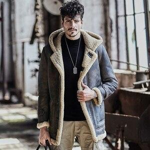 Image 3 - Veste peau de mouton hommes manteau de fourrure en cuir véritable veste matelassée original écologique shearling hommes manteaux rétro parka anti froid