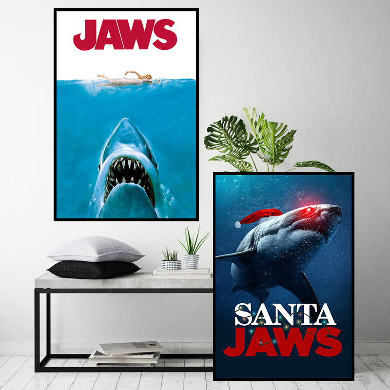 JAWS Posters Shark Classic Horror Movie Poster and Print Canvas Painting Retro Wall Stickers for Living Room Decor Hang Pictures image