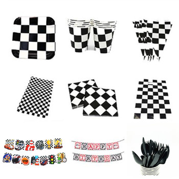 black and white plaid theme party disposable tableware cars racing flag board cup game lattice party wedding decoration kids toy image