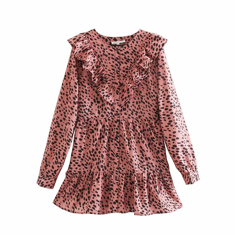 2019 New Women O Neck Animal Pattern Print Pleated Ruffles Mini Dress Sweet Agaric Lace Leopard Vestidos Casual Dresses DS3021