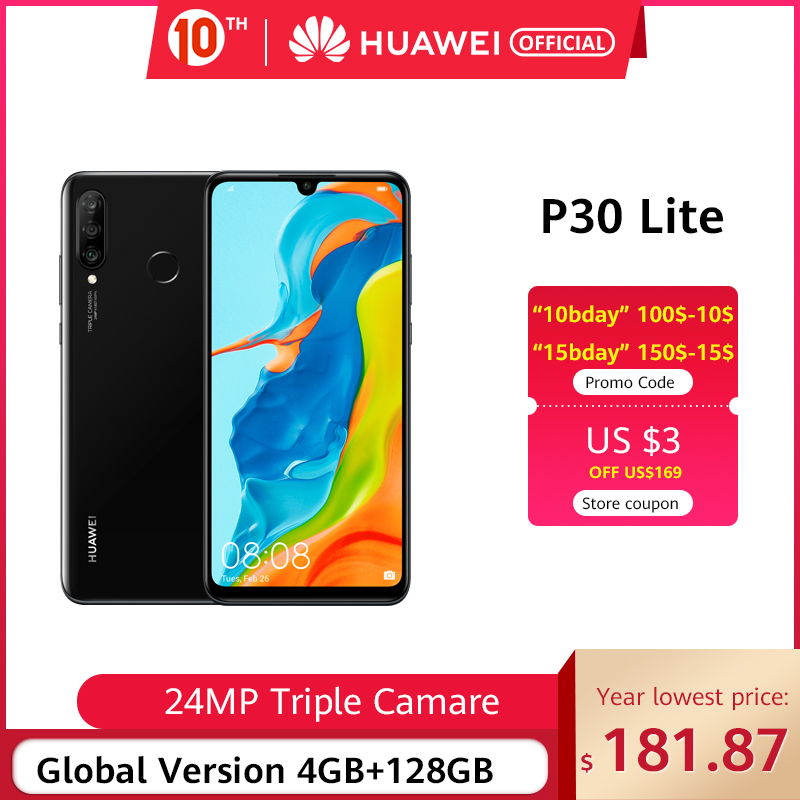 In Stock Global Version Huawei P30 Lite Smartphone Triple Cameras 4G 128G Kirin 710 32MP Front Camera 6.15'' Full Screen NFC
