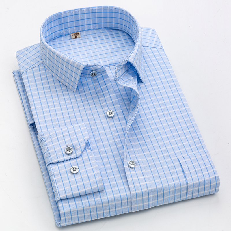 2019 Brand New Men Shirt Male Dress Shirts Striped Men's Casual Long Sleeve Business Formal Plaid Shirt camisa social title=