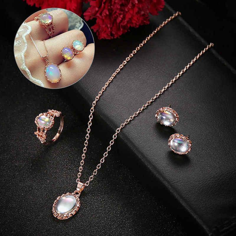New Fashion Jewelry Set Choker Chunky Chain Bib Necklace Ear Studs Ring Suit Women Wedding Party Jewelry Set Bijoux Femme