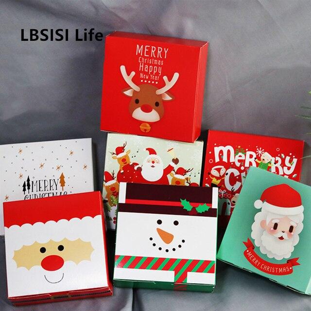 LBSISI Vita 10pcs Di Natale Della Caramella Del Biscotto Scatole di Carta Cupcake Al Cioccolato Biscotto Torrone Regalo Kraft Scatola di Carta Per Il Buon Natale