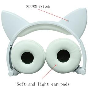 Image 4 - LED متوهجة القط سماعات أذن الأطفال الألعاب فوق الأذن سماعة رأس ستيريو 3.5 مللي متر جاك العالمي للهدايا الهاتف المحمول الكمبيوتر