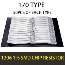 1206 3216 1% 0r ohm hm 10m yageo smd resistor amostra livro tolerância 170valuesx50pces = 8500 pces