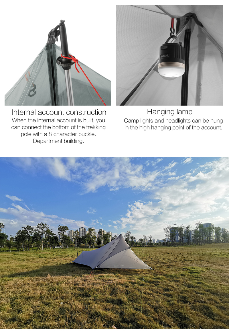 FLAME'S CREED XUNSHANG Ultralight Camping Tent 20D Nylon Both Sides Silicon shelter tarp 1 Person 3 Season  Rain Fly Tent Tarp 13