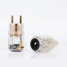 Hight qualidade 24k banhado a ouro schuko plug ue versão plugues de alimentação para áudio cabo de alimentação 24k banhado a ouro plugue masculino feminino i