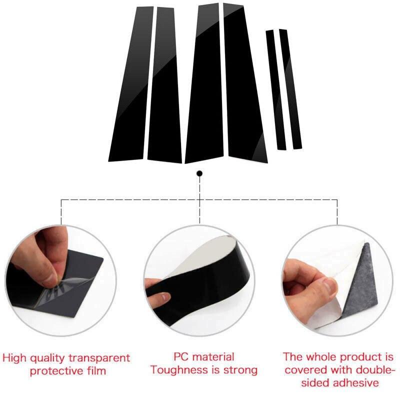 Accessoires Auto PC en plastique 6 pièces poteaux de pilier noir pour Honda Accord 2008-2013 ensemble revêtement d'habillage de fenêtre de porte