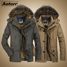 Men #8217 s Fur Collar Windproof Parkas Winter Militory fashion Jacket Men Thick Casual Outwear Jacket Plus Size 6XL Velvet Warm Coat cheap Aotorr zipper Outerwear Coats MS7176 REGULAR Thick (Winter) Jackets NONE Polyester Cotton Wide-waisted Solid Pockets