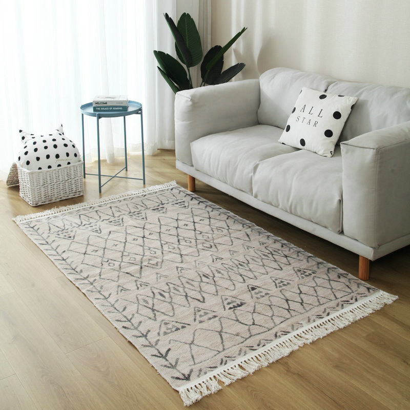 Retro Morocco Hand Woven Cotton Carpet And Rugs For Home Living Room American Turkey Bedside Rug Bedroom Carpet Floor Mat Home