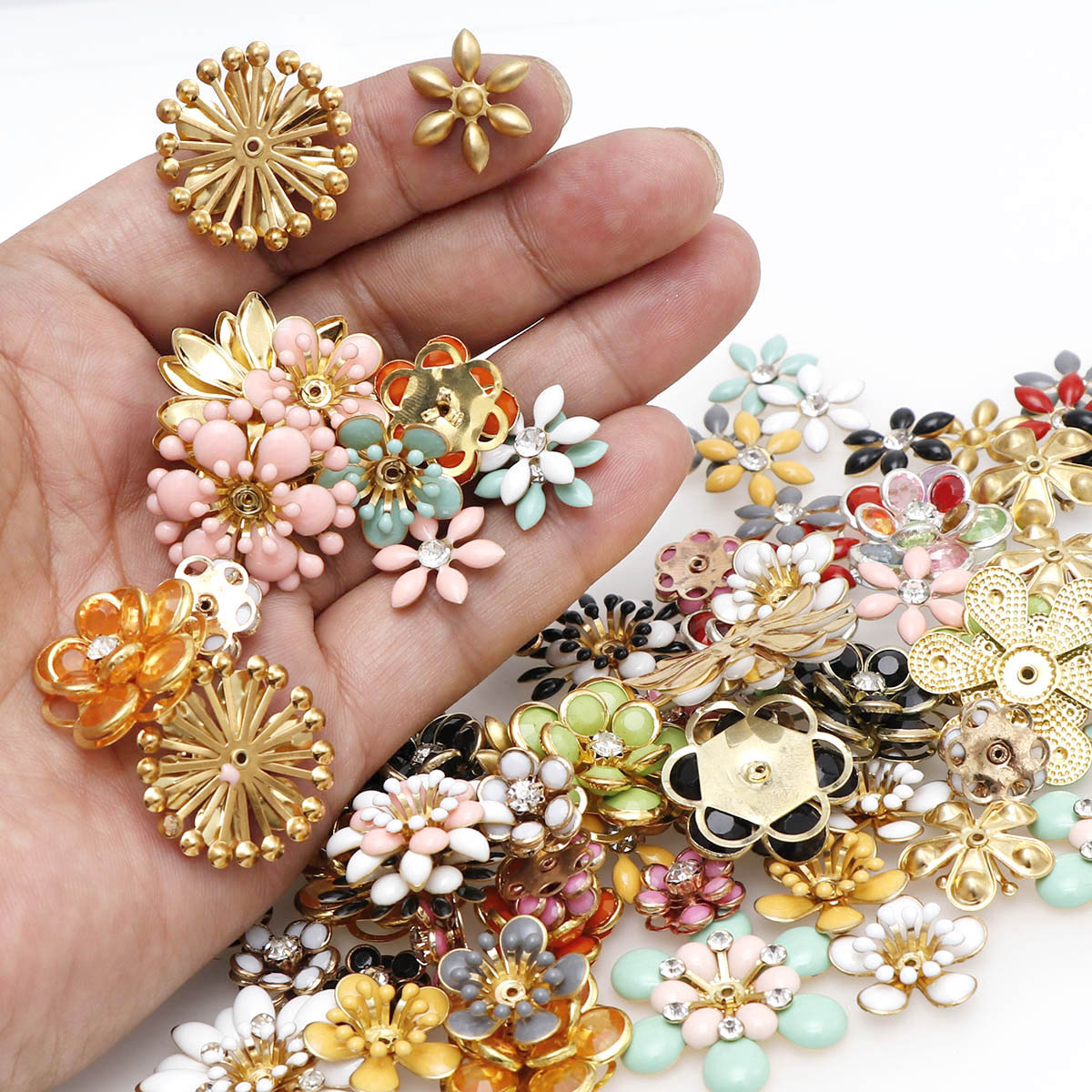 6/10PCS Shiny Oil Drop Alloy Flower Metal Flower Spacer Beads End Caps Pendant DIY Hair Accessories Charms Connectors Jewelry