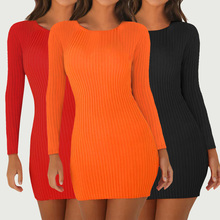 2019 Women Dress Party Night Sexy Round Neck Solid Black Red Orange Long Sleeve Women Bodycon Dress Sexy Dress round neck long sleeve bodycon dress
