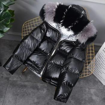 FTLZZ New Gold Silver Double Side Down Coat Winter Jacket Women Big Aritificial Fur White Duck Down Parkas Female Down Outerwear 3