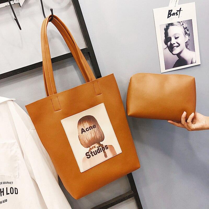 Women's Handbag Women Bags Pu Leather Big Shoulder Bag Female Designer Vintage Top-handle Bag Ladies Tote Bag Printing