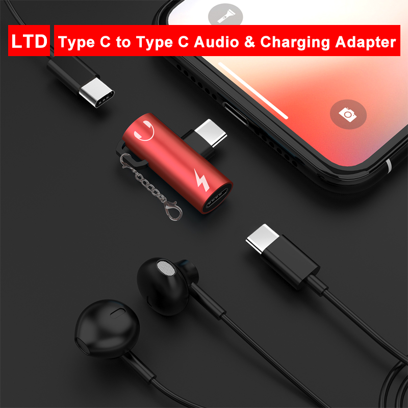 2 In 1 Type-C To Audio And Charging Splitter Convertor For Oneplus 6T/7/7 Pro Adapter Connector For Huawei P30 Pro Nova 5 Pro